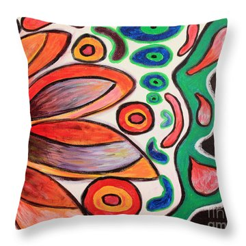 Throw Pillow featuring the painting Psychedelic Summer by Jolanta Anna Karolska