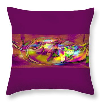 Throw Pillow featuring the digital art Psychedelic Sun by Linda Sannuti