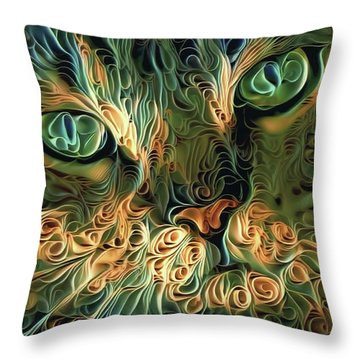 Psychedelic Tabby Cat Art Throw Pillow