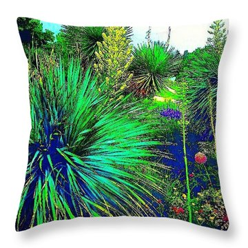 Psychedelic Yuccas. #plant #yucca Throw Pillow