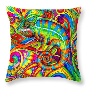 Psychedelizard Throw Pillow