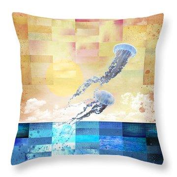 Throw Pillow featuring the digital art Psychotropic Rhythms by Christina Lihani