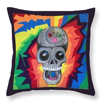 Psycodelic Skull Throw Pillow