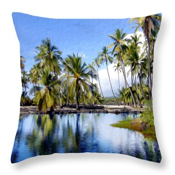 Pu Uhonua O Honaunau Pond Throw Pillow by Kurt Van Wagner