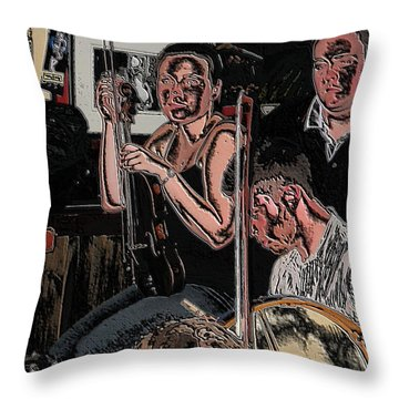 Pub Scene Three Throw Pillow
