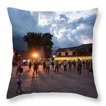 Throw Pillow featuring the photograph Public Dancing by Wade Aiken