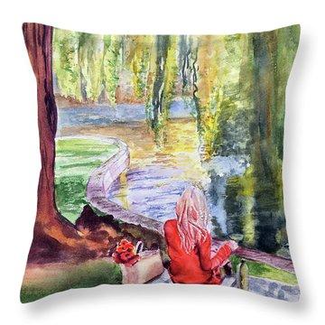 Public Garden Picnic Throw Pillow