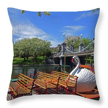 Public Garden Swan Boat In The Spring Boston Ma Throw Pillow