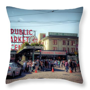 Public Market Crowd Throw Pillow by Spencer McDonald