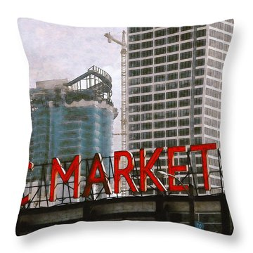 Public Market Throw Pillow