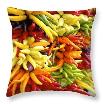 Public Market Peppers Throw Pillow by Henri Irizarri