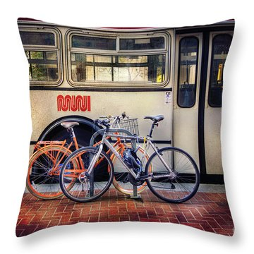 Public Tier Bicycles Throw Pillow