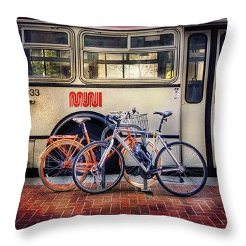 Throw Pillow featuring the photograph Public Tier Bicycles by Craig J Satterlee