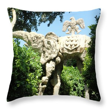 Throw Pillow featuring the photograph Pubol Spain Gala Castle Garden by Gregory Dyer