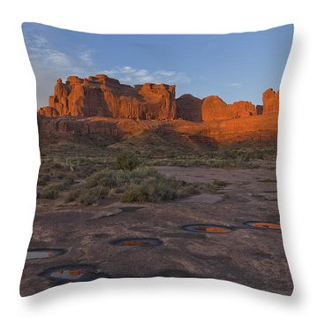 Puddle Reflections At Sunrise Throw Pillow