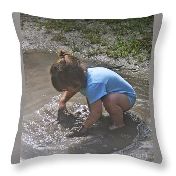 Puddles And Kids Throw Pillow