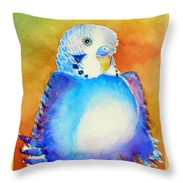 Pudgy Budgie Throw Pillow by Patricia Piffath