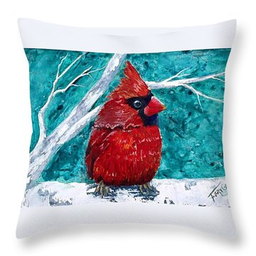 Pudgy Cardinal Throw Pillow