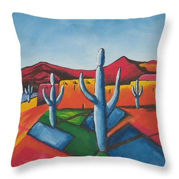 Throw Pillow featuring the painting Pueblo by Antonio Romero