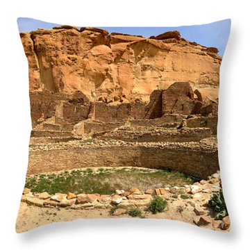 Throw Pillow featuring the photograph Pueblo Bonito Kiva Ruins by Adam Jewell