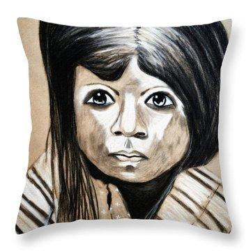 Pueblo Girl Throw Pillow by Ayasha Loya