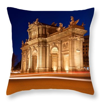 Throw Pillow featuring the photograph Puerta De Alcala Madrid by Stephen Taylor