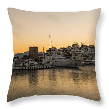 Puerto Banus In Marbella At Sunset. Throw Pillow by Perry Van Munster