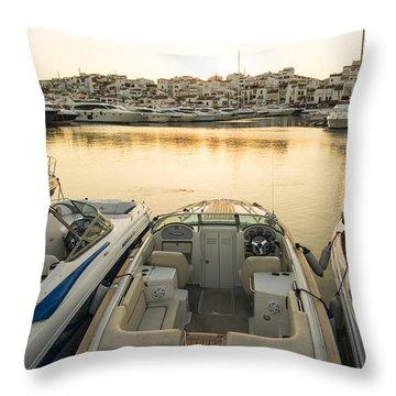 Puerto Banus Throw Pillow by Perry Van Munster