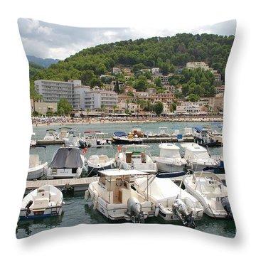 Puerto De Soller In Majorca Throw Pillow
