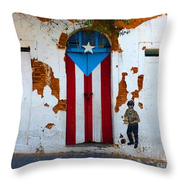 Puerto Rican Flag On Wooden Door Throw Pillow