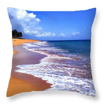 Puerto Rico Shoreline Along Pinones Throw Pillow by Thomas R Fletcher