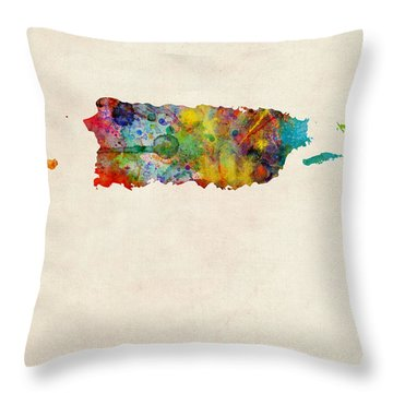 Puerto Rico Watercolor Map Throw Pillow