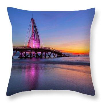 Throw Pillow featuring the photograph Puesta De Sol En La Playa De Los Murtos by Edward Kreis