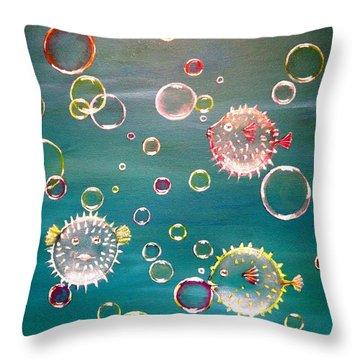 Puffer Fish Bubbles Throw Pillow