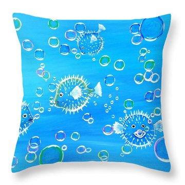 Pufferfish Playtime Throw Pillow