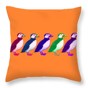 Puffins Apparel Design Throw Pillow