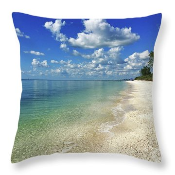 Puffy White Clouds At Delnor-wiggins Throw Pillow