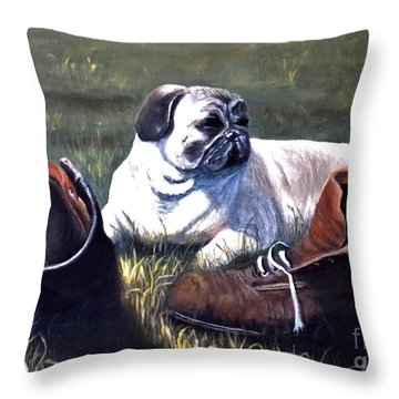 Pug And Boots Throw Pillow