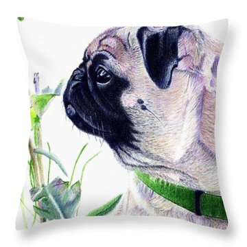 Pug And Nature Throw Pillow by Patricia Barmatz