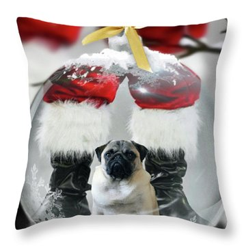 Pug And Santa Throw Pillow