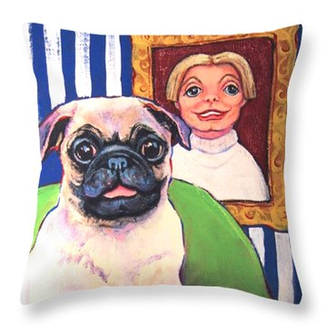 Pug - Beth Ann And Butch Throw Pillow by Rebecca Korpita