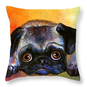 Pug Dog Portrait Painting Throw Pillow
