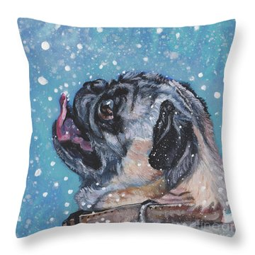 Throw Pillow featuring the painting Pug In The Snow by Lee Ann Shepard