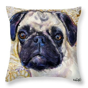 Throw Pillow featuring the painting Pug Mug by Molly Poole
