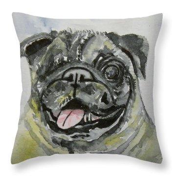 One Eyed Pug Portrait Throw Pillow