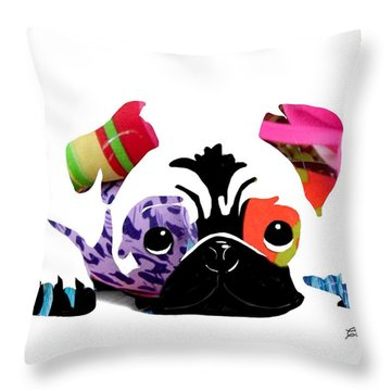 Pug Pup Throw Pillow by Cindy Edwards