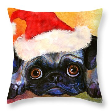 Pug Santa Portrait Throw Pillow