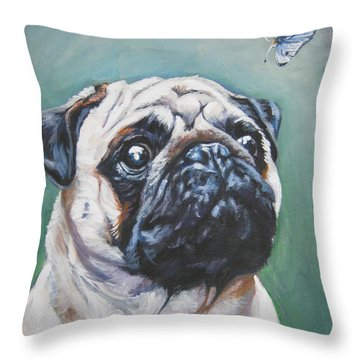 Pug With Butterfly Throw Pillow by Lee Ann Shepard