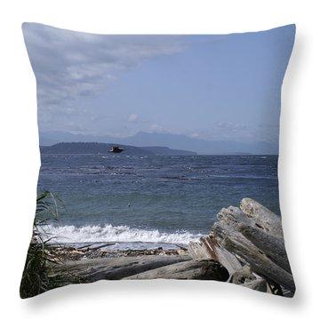 Puget Sound Throw Pillow by Henri Irizarri