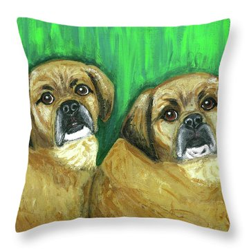 Puggles Bruno And Louie Throw Pillow